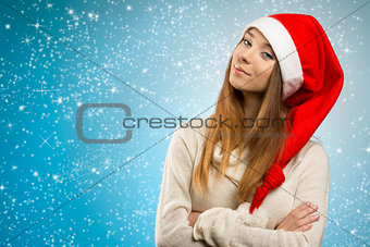 nice woman with santa claus hat