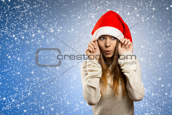 adorable girl with santa claus hat