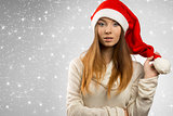 sensual girl with winter christmas style