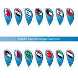 Pin flags of the Middle East Sovereign Countries