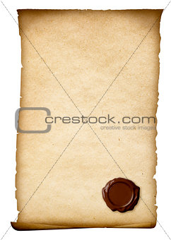 Old paper with wax seal or wafer isolated