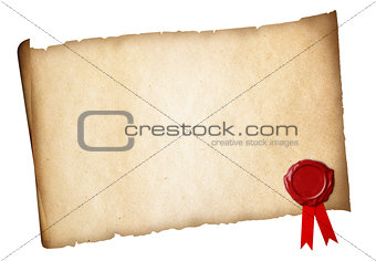 Old paper diploma or certificate parchment with wax seal isolate