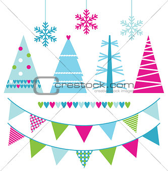 Abstract xmas trees and design elements isolated on white