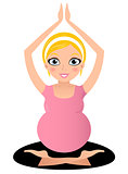 Blond Pregnant yoga woman isolated on white