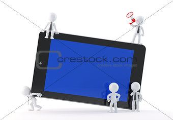 Group of business people using tablet