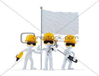 Group of construction workers with flag