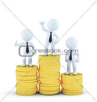 Business people on top of euro coin piles. Money making concept