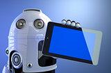 Robot holding blank digital tablet computer