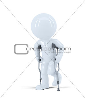3d man walking on crutches