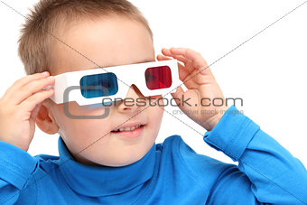 boy watching with 3d glasses