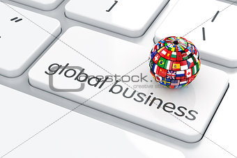 Flags collection sphere on the computer keyboard