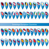 Pin flags of the Sovereign European Countries