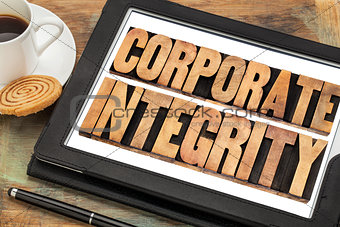 corporate integrity on digital tablet