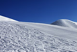 Ski slope and blue clear sky in nice day