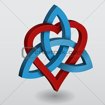 Celtic knot triquetra with heart
