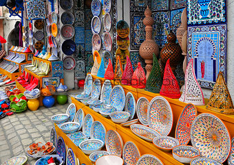 Pottery  in souvenir store