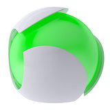 3d glow green abstract sphere