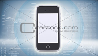 Smartphone on high-tech blue background