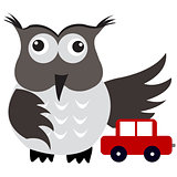 Concept of car insurance with car under owl wing protection