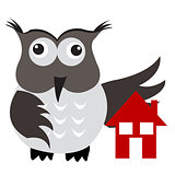 Concept of home insurance with house under owl wing protection