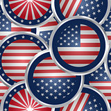 Seamless background with american flag web buttons