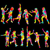 Set of children silhouettes made of colored circles