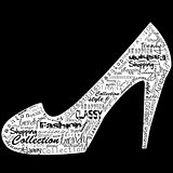 Shoe with fashion shopping messages over black background