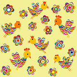 Stylized birds and flowers background for kids