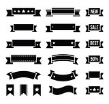 Retro ribbons, vintage bookmarks set - vector