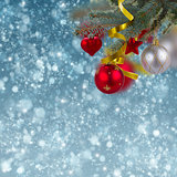 christmas decorations jn snow background