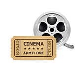 Retro cinema ticket and Babin