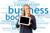 Blond woman with tablet computer