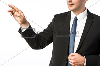 Closeup businessman holding his right hand up