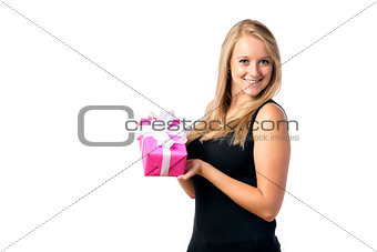 Blond girl with present