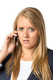 Blond phoning serious woman