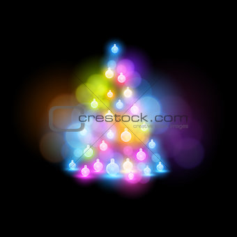 Glowing Christmas Tree vector illustration.