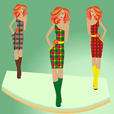Fashion models posing on podium in different checkered dresses