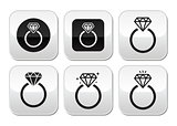 Diamond engagement ring vector buttons set