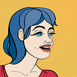 pop art blue hair girl