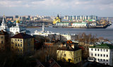 Colorful sunny autumn october view of Nizhny Novgorod