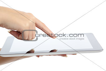 Close up of a woman hand touching a tablet pc