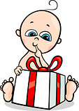 baby boy with gift cartoon illustration
