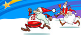 running santa greeting card cartoon