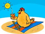 chicken on the beach cartoon