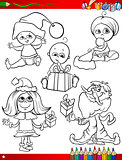 children at christmas coloring page