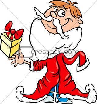 little boy santa cartoon illustration