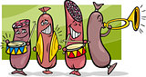 sausages band cartoon illustration