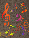 Colorful Musical Notes on Textured Background Illustration