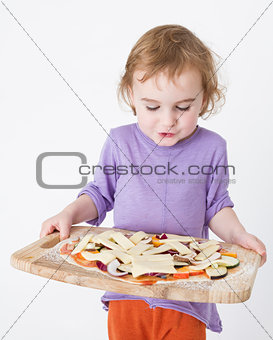 bringing pizza to the oven