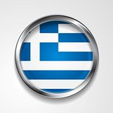 Vector button with stylish metallic frame. Greek flag